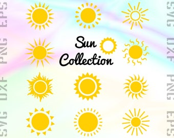 Sun SVG Files - Sun Light Dxf Files - Sun Clipart - Sun Cricut Files - Sun Cut Files - Sun Png - Sun Silhouette - Svg, Dxf, Png, Eps Vectors