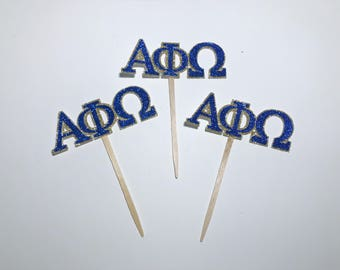 CUSTOMIZABLE Greek Alphabet cupcake toppers - fraternity toppers -  sorority toppers -  rush party -decorations - greek party - 12 CT