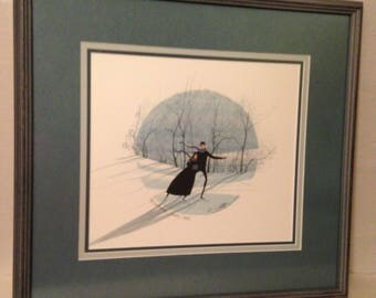 "P Buckley Moss Signed Numbered Framed Print-""Winter Walz""-RARE-Sold Out-1991"