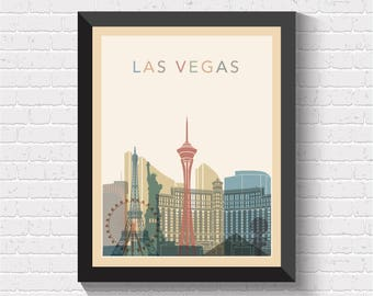 Las Vegas Skyline, Las Vegas Print, Las Vegas Poster, Las Vegas Wall Art, Las Vegas Cityscape, Las Vegas Art, Las Vegas View, US, USA