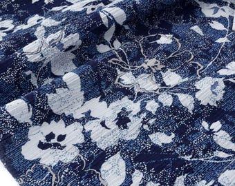 Fabric Navy Blue floral cotton seersucker x 50cm