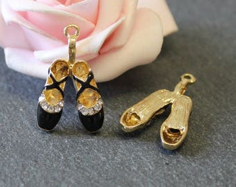 x 1 pair shoes color black and gold 26 x 16 mm BR503 charm