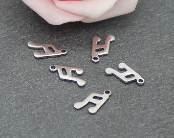 note music 7 x 13 mm BR600 stainless steel 20 charms
