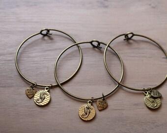Seahorse charm bangle bracelet