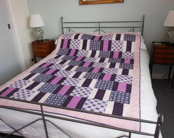Patchwork single quilt throw bed cover - elephants 03