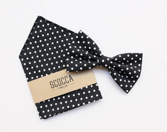 Black and white polka dot bow tie and handkerchief, for men, in cotton