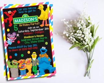 Sesame Street Invitation, Sesame Street Editable Invitation, Sesame Street pdf edotable, Sesame Street Birthday Card, Sesame Street invite