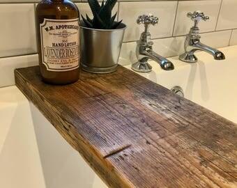 Rustic Wooden Bath Caddy - Bath Shelf - Bath Tray - Scaffold Board