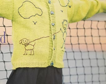 PDF Knit Child's Embroidery Cardigan (Easy)
