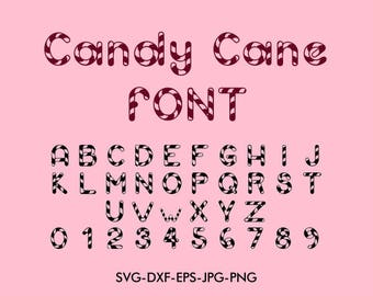 Candy cane Font svg, Candy cane font alphabet , For Silhouette EPS png jpg files. svg dxf for Silhouette Cameo or Cricut