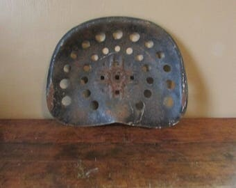 Antique Tractor Seat - Vintage Cast Iron Tractor Seat - Rusty Iron Tractor Seat