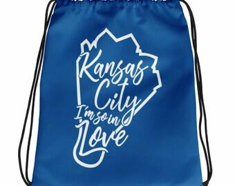 Kansas City I'm So In Love Drawstring Bag, KC Bag, Kansas City Gifts, Kansas City Art, Kansas City Pride