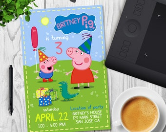 PEPPA PIG INVITATION, Peppa Birthday Invitation, Peppa Invitation, Peppa Party Invite, Peppa Invite, George Pig Invite, George Invite