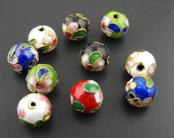 Set of 5 cloisonne metal beads 10mm