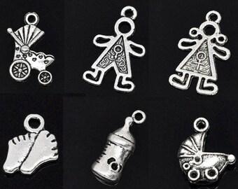 Set of 6 Baby/Baby 11.6x8.5 charms pendants - 24x15mm