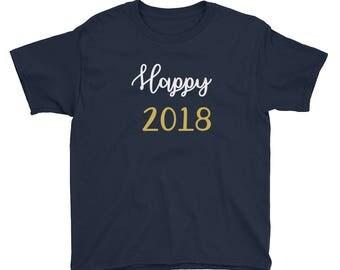 New Years Tee, Happy New Year Shirt, Party Shirt, Celebrate New Years Custom Tee, New Year Top For Kids,Kids T-shirt, 2018 T-Shirt