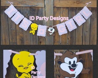 BABY LOONEY TUNES Banner Bugs Tweety Daffy Marvin the Martian Taz Looney Tunes Birthday Baby Looney Tunes Baby Shower Centerpiece