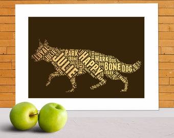 German Shepherd print, German Shepherd present, alsatian gifts