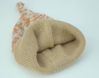 Baby hat knitted pure merino wool double-layered Babymütze gestrickt aus Merinowolle Farbe wählbar Bonnet bébé