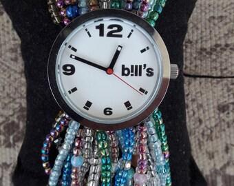 Watch cuff miyuki beads and glass beads