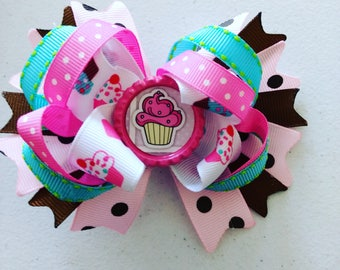 Cupcake pigtail bows