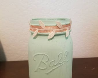 Mason Jar, Home Decor, Nursery, Rustic, sea mint.