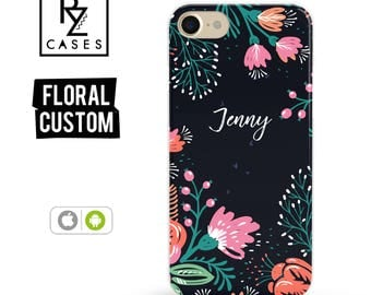 Floral Phone Case, iPhone 7 Case, iPhone 6s Case, Personalized Case, Floral iPhone Case, iPhone 5 Case, iPhone 6 Plus, Samsung Galaxy S7