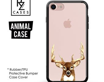 Deer Head Phone Case, iPhone 7 Case, Animal Phone Case, Antlers Hunting, Gift for Her, iPhone 7 Plus, iPhone 6, Rubber, Bumper Case