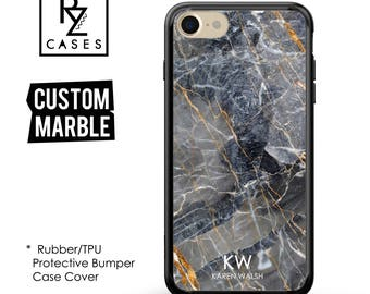 Marble Phone Case, Initial Phone Case, Personalized iPhone 7, Gift for Her, 7 Plus Case , iPhone 6S, Rubber Case, Bumper Case Cover