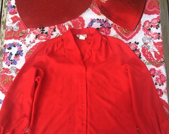Vintage USA Lucky Winner Brand - Red Blouse sz 18