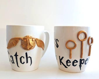 Harry Potter She's a catch, He's a keeper large mug set with polymer clay golden snitch and keeper rings.