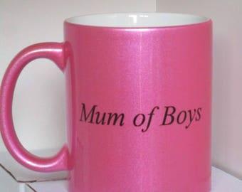 11oz pink sparkle slogan mug