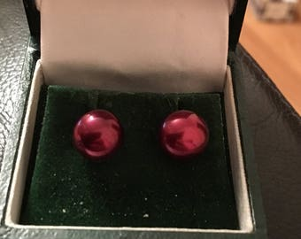 red fresh water pearls earrings 9ct gold