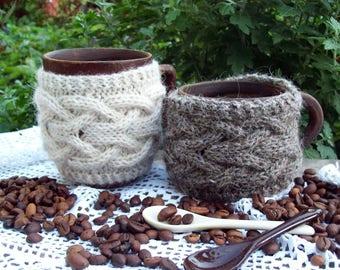 Knitted Cup Cozy, Coffee / Tea Cup Cozy, Coffee Mug Cozy, Cable Knitted Coffee warmer, Knit Cup Coffee Cozy, Knit Mug Cozy.