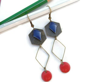 Graphic earrings red and midnight blue