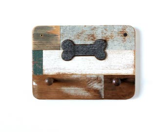Reclaimed Wooden Inlay Leash Holder with Dog Bone Accent - rustic decor, shabby chic, wooden leash holder, pet leash holder, leash hanger