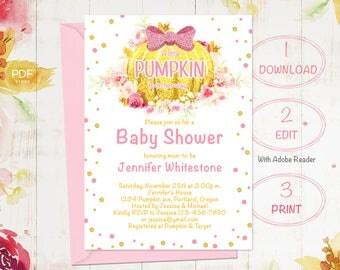 Little Pumpkin Baby Shower Invitation, Floral Baby Shower Invitation, Baby Shower Invitation Template, Gold Baby Shower, Girl Baby Shower