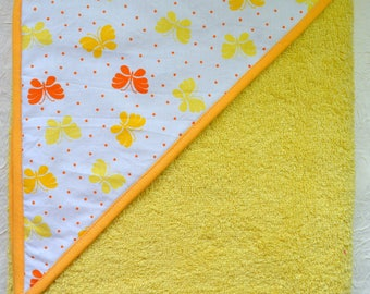 Large yellow hooded towel
