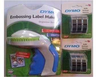 Dymo Xpress Tapewriter Package: Embossing Label Maker + 6 Black Tapes Express