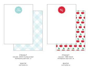 15 4.5x6.25 (A6) Custom/Personalized Flat Notecard with patterned back
