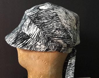 JOLA - Black/White splatter Stripe Silk/Cotton Crepe