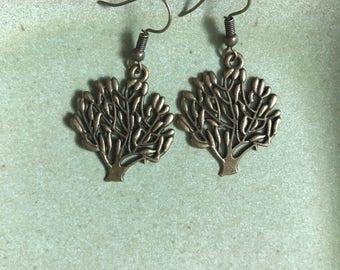 Bronze tree of life dangle earrings