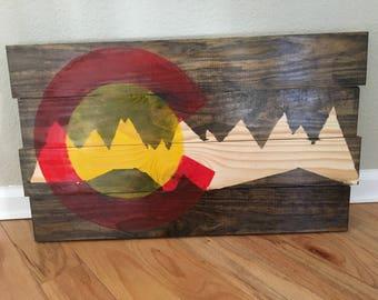 Colorado flag wood sign mountain house decor