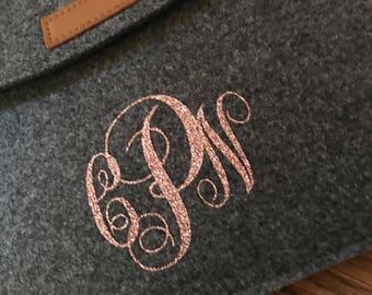 Felt ipad sleeve with monogram