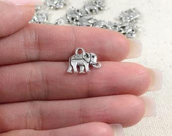Silver Elephant Charms | Antique Silver Charms | Small Elephant Charms | Yoga Charms | Silver Elephant Pendants |14x11mm SE279
