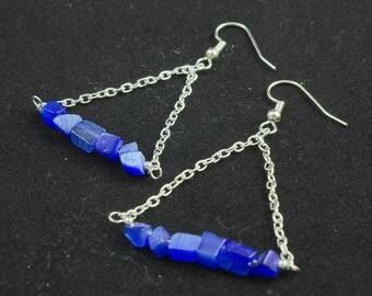 Cobalt Cat's Eye Glass Earrings