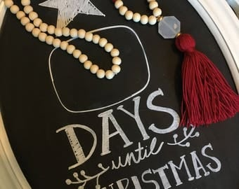 Red tassel necklace  christmas necklace