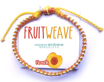 PEACH CHIC BRACELET, Guatemalan Bracelets, Handmade bracelets, colorful bracelets, fruit based, fruit weave, friendship bracelets.