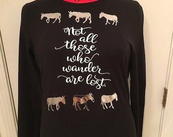 Tee Shirt - Donkey L/S Black - Not All Those Who Wander are lost