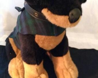 Green and Black Plaid Pet Coat
